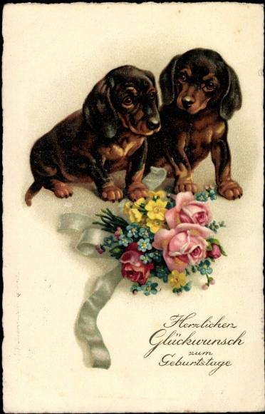 Ansichtskarte Postkarte Gluckwunsch Geburtstag Zwei Akpool De