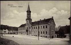 Postcard Cönnern, Partie am Rathaus, Marktplatz, Turm, Kind