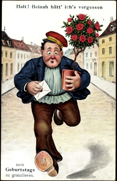 Artist Postcard Gluckwunsch Geburtstag Mann Mit Blumen Akpool Co Uk