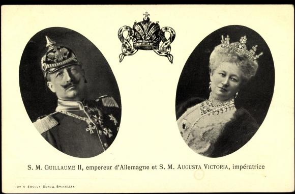 Postcard Kaiser Wilhelm II, Auguste Victoria, Empereur