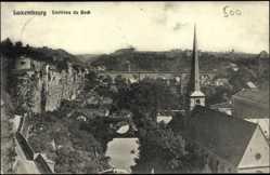 Postcard Luxemburg, Environs du Bock, Clocher, Viaduc