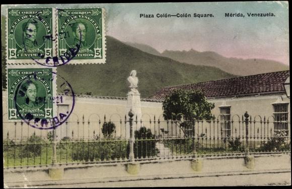 Postcard Mérida Venezuela, Plaza Colón, Colón Square, Gebirge