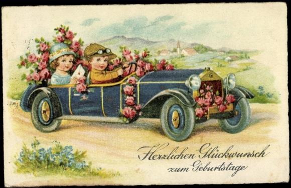 Carte Postale Gluckwunsch Geburtstag Automobil Blumen Akpool Fr