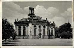 Postcard Saarbrücken, Blick auf die Ludwigskirche, Platz