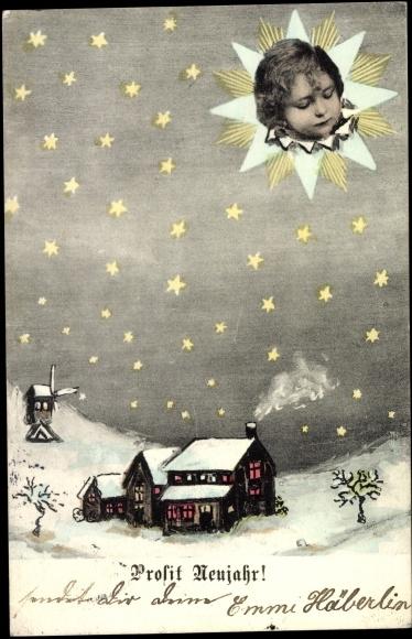 Künstler Ak Prosit Neujahr, Wohnhaus, Winterlandschaft, Kind, Windmühle, Nacht
