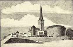 Künstler Ak Tallinn Estland, Olaikirche mit Dicker Margarete und Wehrtürmen