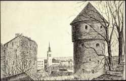 Künstler Ak Tallinn Estland, Kick in de Kök und Mädchenturm