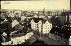 Postcard Mitau in Lettland, Blick auf eine Kreuzung in der Altstadt mit Kirche