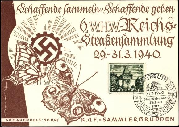Ansichtskarte / Postkarte Schaffende sammeln, Schaffende geben, 6 WHW Reichsstraßensammlung 1940