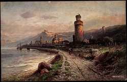 Künstler Ak Astudin, N., Oberwesel Rhein, Ruine Schönburg, Ufer