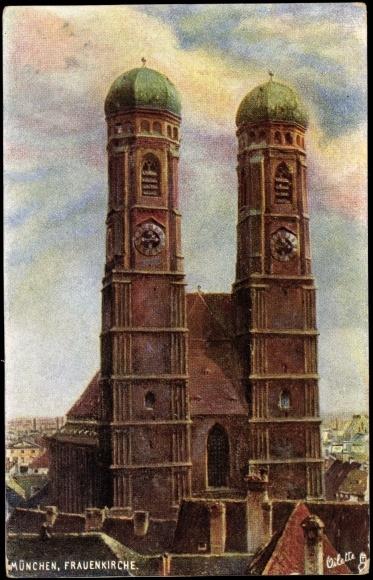 k nstler ak m nchen frauenkirche zwillingst rme front