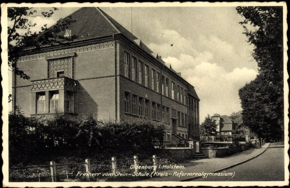 ansichtskarte postkarte oldenburg holstein freiherr vom stein schule reformrealgy. Black Bedroom Furniture Sets. Home Design Ideas