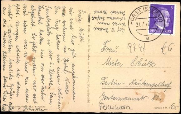 Backside Postcard Seebad Horst Niechorze Pommern, Kirchenruine Hoff
