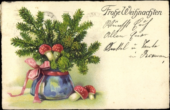 ansichtskarte postkarte fr hliche weihnachten blumentopf mit tannenzweigen und pilzen. Black Bedroom Furniture Sets. Home Design Ideas