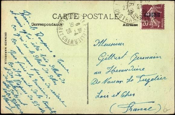 Derrière Carte postale Dampfer S.S. Lamoricière en pleine mer, French Line