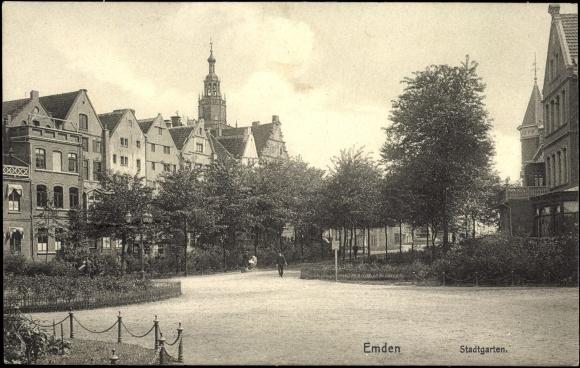 Ansichtskarte postkarte emden ostfriesland partie im - Stadtgarten hamburg ...