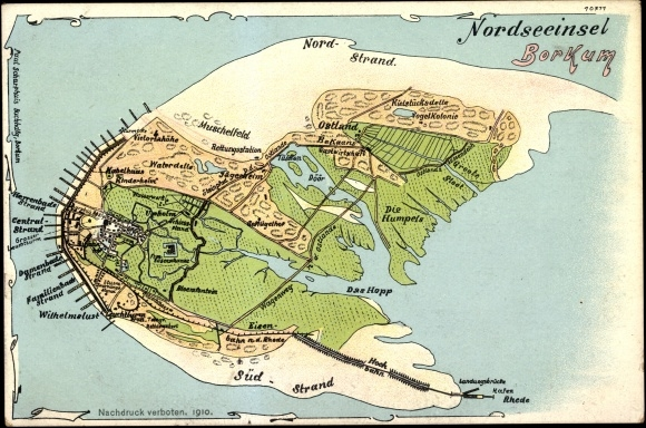 Landkarten Chromo Litho Nordseeinsel Borkum Akpool Co Uk