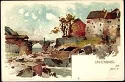 Künstler Litho Voellmy, F., Laufenburg am Rhein, Partie am Fluss