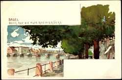 Künstler Litho Voellmy,F., Basel Stadt, Blick auf die alte Rheinbrücke mit Rhein