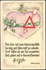 Künstler Ak Jondorf Wilhelm, Mein Her hat eine Kreuzungsstelle