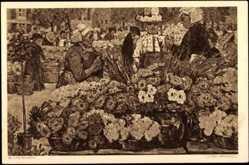 Künstler Ak J. van Brackel, Blick auf den Blumenmarkt, Frau mit Kopfbedeckung