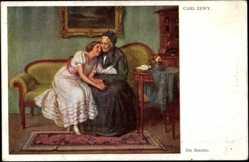 Künstler Ak Zewy, Carl, Die Beichte, Frau lehnt an ihrer Mutter auf dem Sofa an