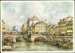 Künstler Ak Tritt, Berlin, Blick auf die Jungfernbrücke, Bootsfahrer und Läden