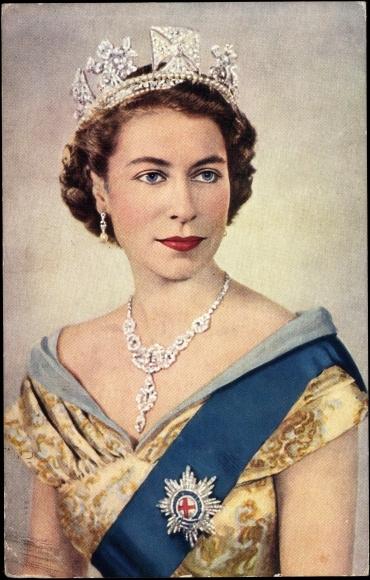 ansichtskarte postkarte k nigin elisabeth ii von england queen elizabeth ii crown. Black Bedroom Furniture Sets. Home Design Ideas
