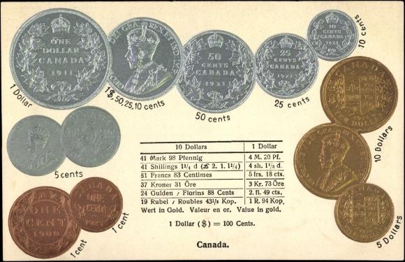 Münz Gaufré Carte Postale Kanada Umrechnungstabelle Akpoolfr