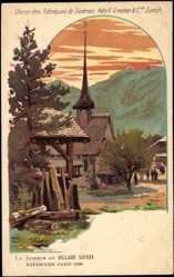 Lithographie Exposition Paris 1900, La Scierie au Village Suisse, Fabriques de Soieries