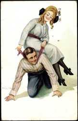 Künstler Ak Zahl, H., Liebespaar, Frau sitzt Mann auf dem Rücken, Pferd