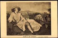 Künstler Ak Tischbein, Dichter Wolfgang von Goethe in der Campagne
