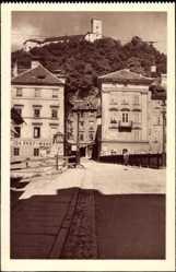 Postcard Ljubljana Slowenien, Pod tranco, Straßenansicht