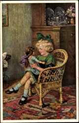 Künstler Ak Völker, Rob., Mädchen spielt mit Puppe, Mein Liebling