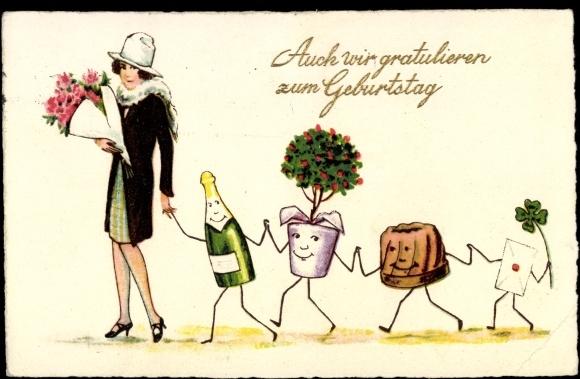 ansichtskarte postkarte gl ckwunsch geburtstag frau blumenstrau sekt kuchen b. Black Bedroom Furniture Sets. Home Design Ideas