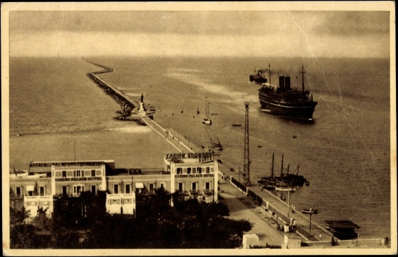 Ak Port Said Ägypten, Casino and Breakwater, Casino et Môle, Casino u. Hafendamm