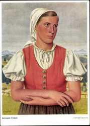 Künstler Ak Ziebert, Hermann, Jungbäuerin, Frau in Tracht