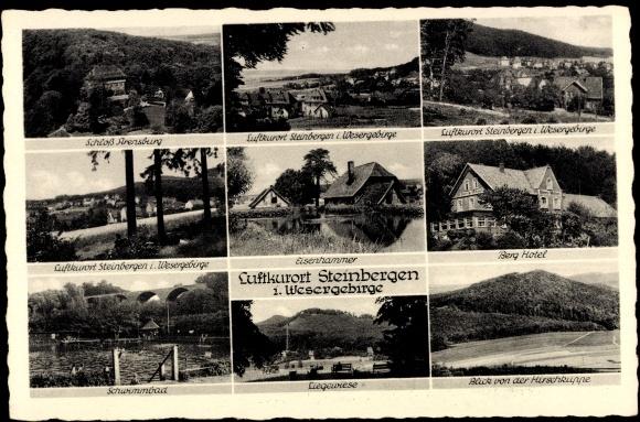 ansichtskarte postkarte steinbergen rinteln wesergebirge berg hotel liegewiese schwimmbad. Black Bedroom Furniture Sets. Home Design Ideas