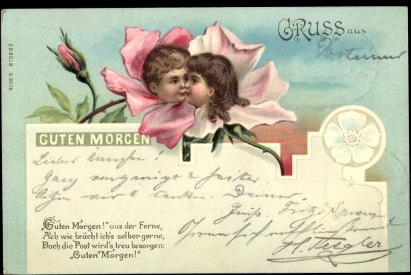 Chromo Litho Guten Morgen Kuss Portraits In Blüten