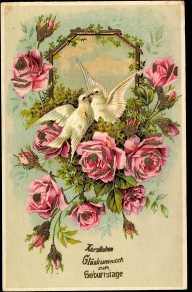 ansichtskarte postkarte herzlichen gl ckwunsch zum geburtstage strau voller rosen wei e tauben. Black Bedroom Furniture Sets. Home Design Ideas