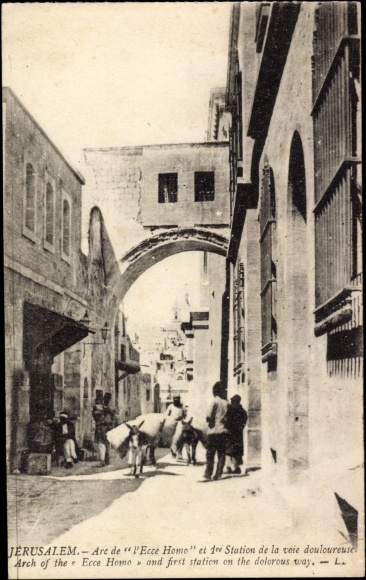 Jerusalem Israel, Arch of the Ecce Homo and first station on the dolorous way