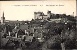 Cp Luynes Indre et Loire, vue générale du Château et l'Eolienne