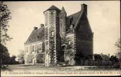 Cp Plessis les Tours Indre et Loire, vue générale du Château, facade ouest