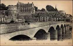 Cp Amboise Indre et Loire, vue générale du Pont et du Château
