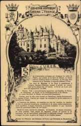 Cp Usse en Indre et Loire, Vue du Chateau, Blick zum Schloss, Wappen