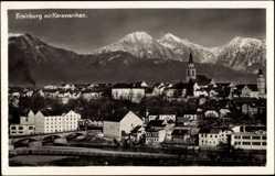 Postcard Kranj Krainburg Slowenien, Gesamtansicht mit Karawanken und Kirche