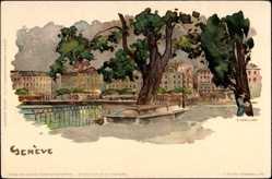 Künstler Litho Voellmy, F., Genf Schweiz, Blick auf den Fluss, Promenade