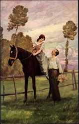Künstler Ak Jansen, L., Liebesgeplankel, Frau auf Pferd schaut zu Mann