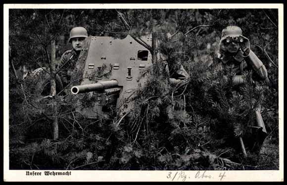Ansichtskarte postkarte wehrmacht getarntes geschütz akpool.de