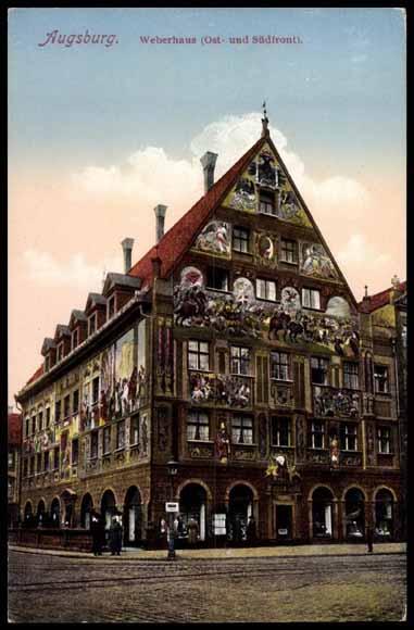 postcard augsburg bayern weberhaus ost u s dfront. Black Bedroom Furniture Sets. Home Design Ideas